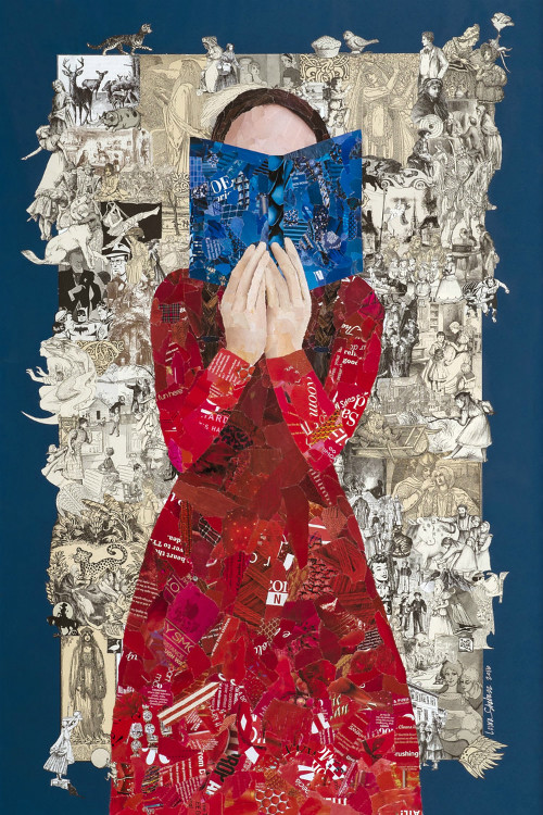 torn paper collage - Worlds of Imagination by Laura Shabazz