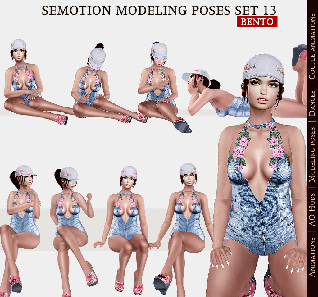 SEmotion Female Bento Modeling poses Set 13 - 10 static poses - TeleportHub.com Live!