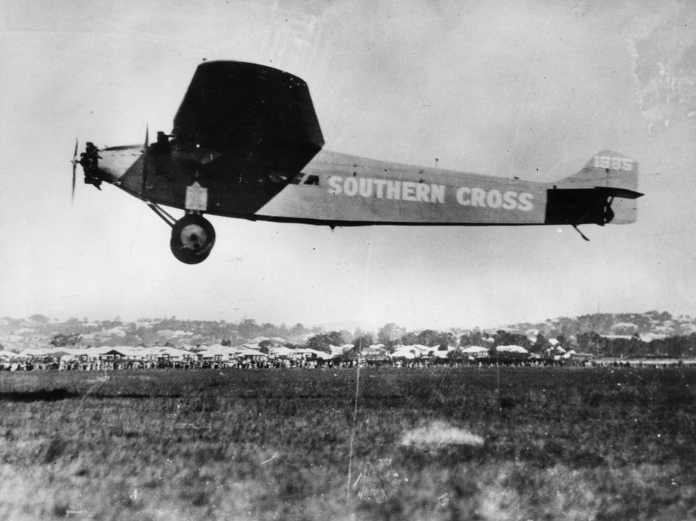 Charles Kingsford Smith and his four-man crew land the Southern Cross at Brisbane, Queensland, on June 9, 1928, following the first trans-Pacific flight to Australia. Made in three stages, the flight had begun on May 31 in Oakland, California.