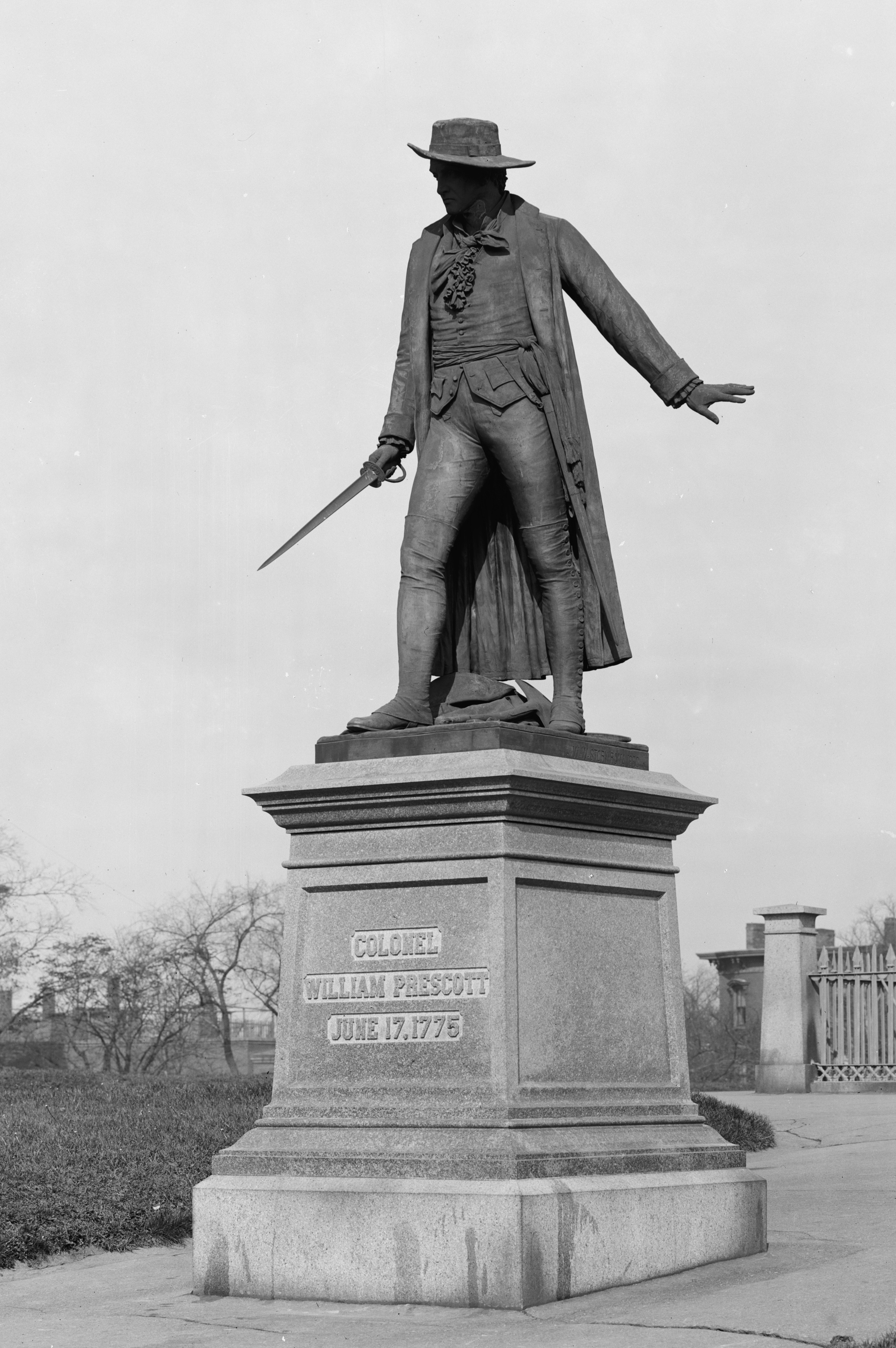 Statue of Col. Prescott, Charlestown, Mass. Sculpted by William Wetmore Story, 1881. Photo taken between 1900 and 1906