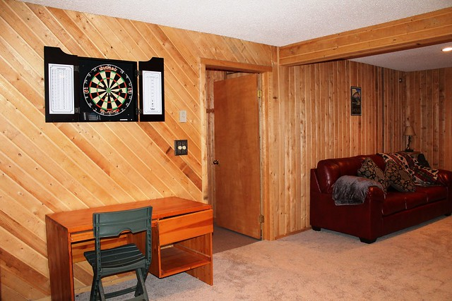 lower level rec room with queen pull out sofa bed