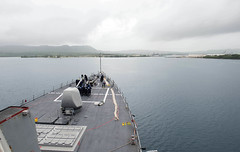 USS Benfold (DDG 65) approaches Naval Base Guam, June 5. (U.S. Navy/MC2 Anna Van Nuys)