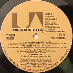 VERNON BURCH:I'LL BE YOUR SUNSHINE(LABEL SIDE-B)