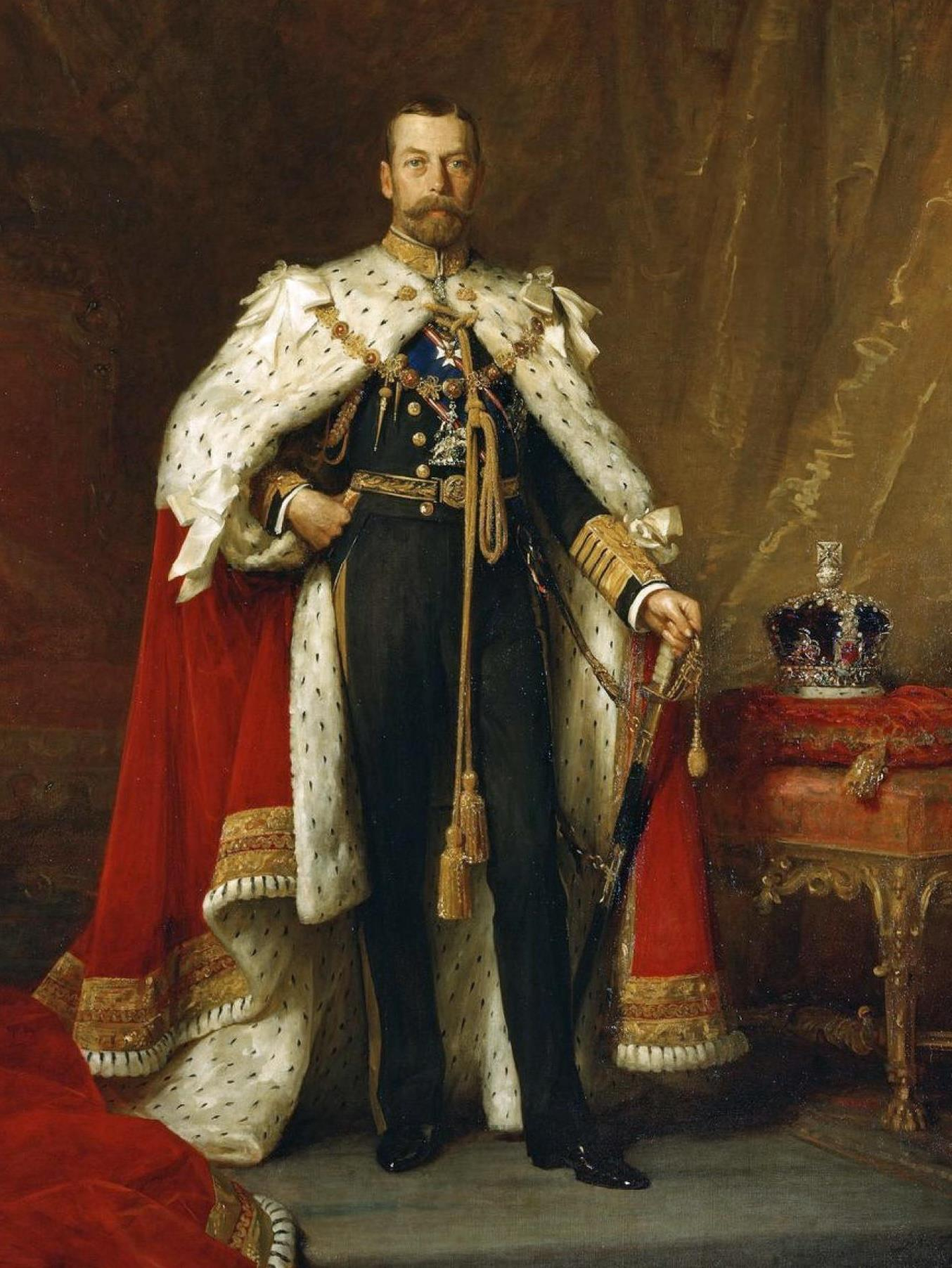 State portrait of King George V in coronation robes by Sir Luke Fildes, 1911