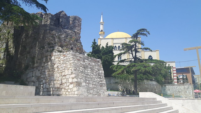 The Roman Wall and main mosque together in Durres, Albania
