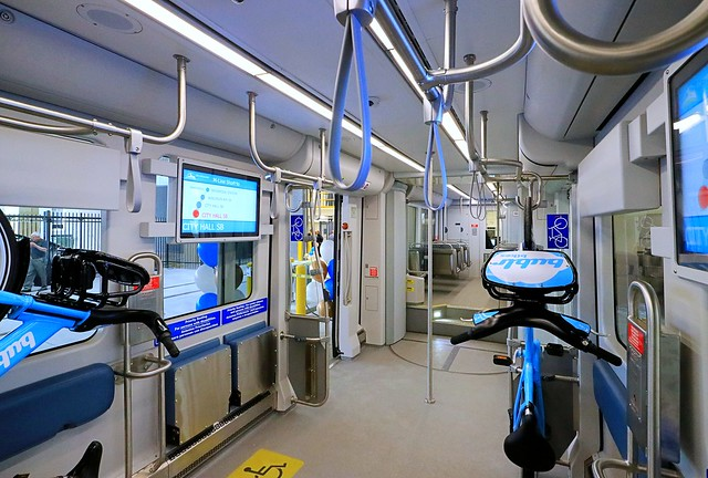 Inside the Hop - places for wheelchairs, fold-down seats, bicycles, strollers, people standing