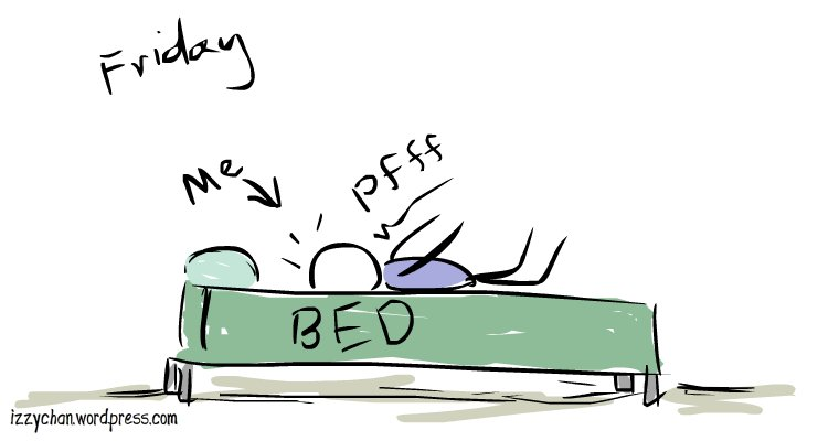 falling into bed