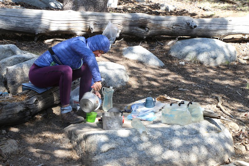 Back at camp with plenty of water, Vicki boils our afternoon tea in Little Round Valley