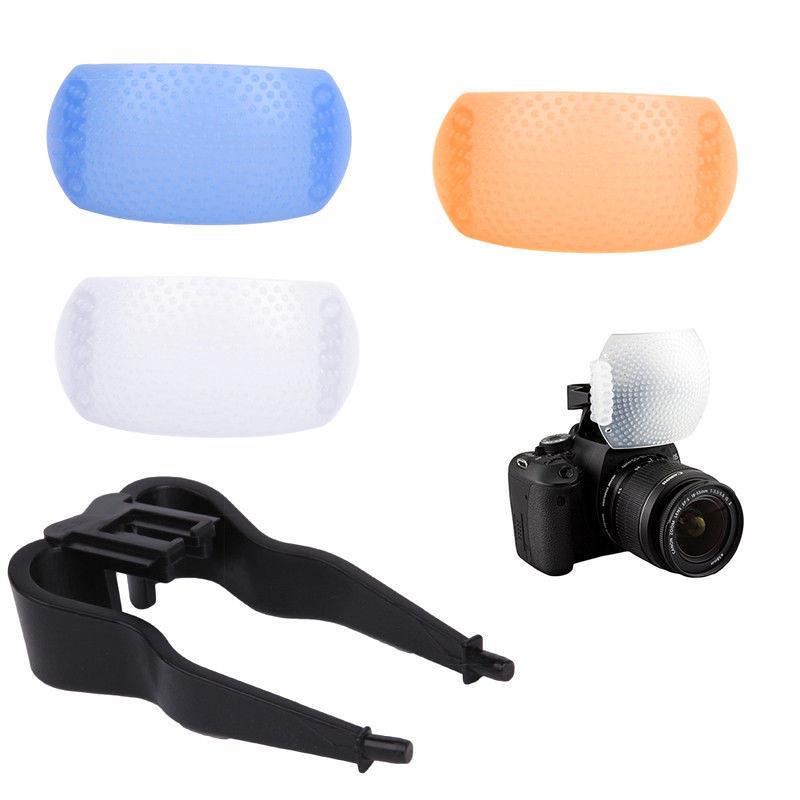 Pop up Flash diffuser Tản sáng Flash cóc kit 3 màu cho đèn cóc trên máy ảnh DSLR