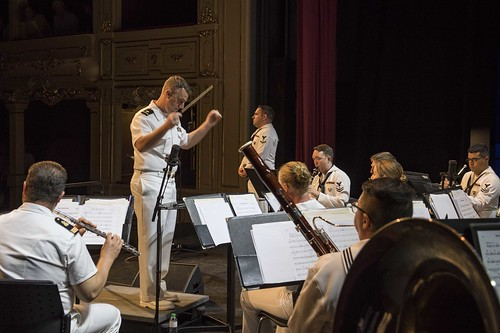 Fri, 06/15/2018 - 16:46 - 180615-N-KP946-0121 MENORCA, Spain (June 15, 2018) The U.S. Naval Forces Europe Band plays at the Farragut Legacy Engagement concert at Teatro Principal de Mao in Menorca, Spain, June 15, 2018. U.S. Naval Forces Europe-Africa, headquartered in Naples, overseas joint and naval operations, often in concert with allied and interagency partners, to enable enduring relationships and increase vigilance and resilience in Europe and Africa. (U.S. Navy photo by Mass Communication Specialist 2nd Class Alyssa Weeks / Released)