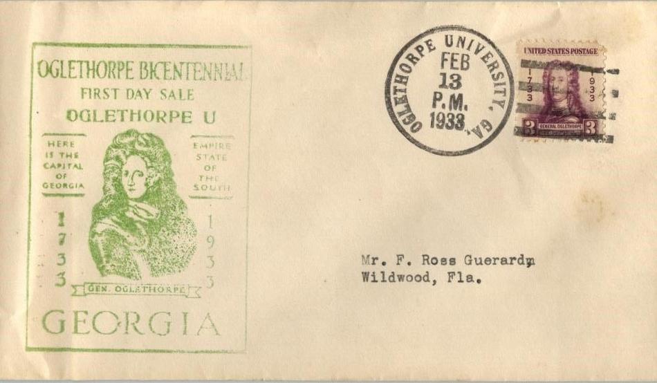United States - Scott #726 (1933) - second day cover postmarked at Oglethorpe University, Georgia