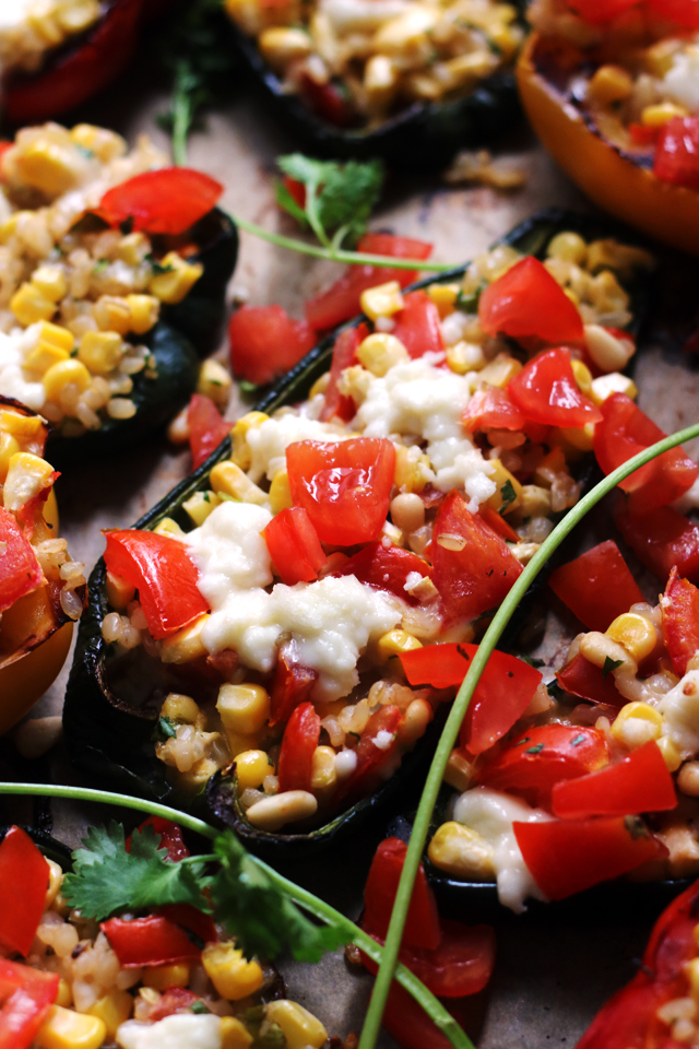 Summer Corn, Monterey Jack, and Brown Rice Stuffed Poblano Peppers