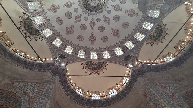The tiled ceiling inside the Blue Mosque, Sultanahmet, Istanbul Turkey