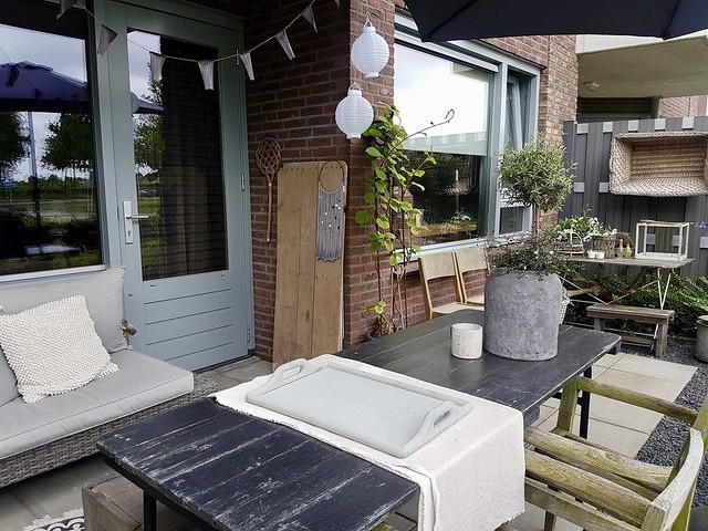Overkapping terras landelijke Scandinavische stijl