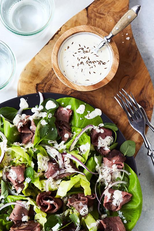 Beef on Week Salad with Horseradish Caraway Dressing {Paleo, Keto, Whole30}
