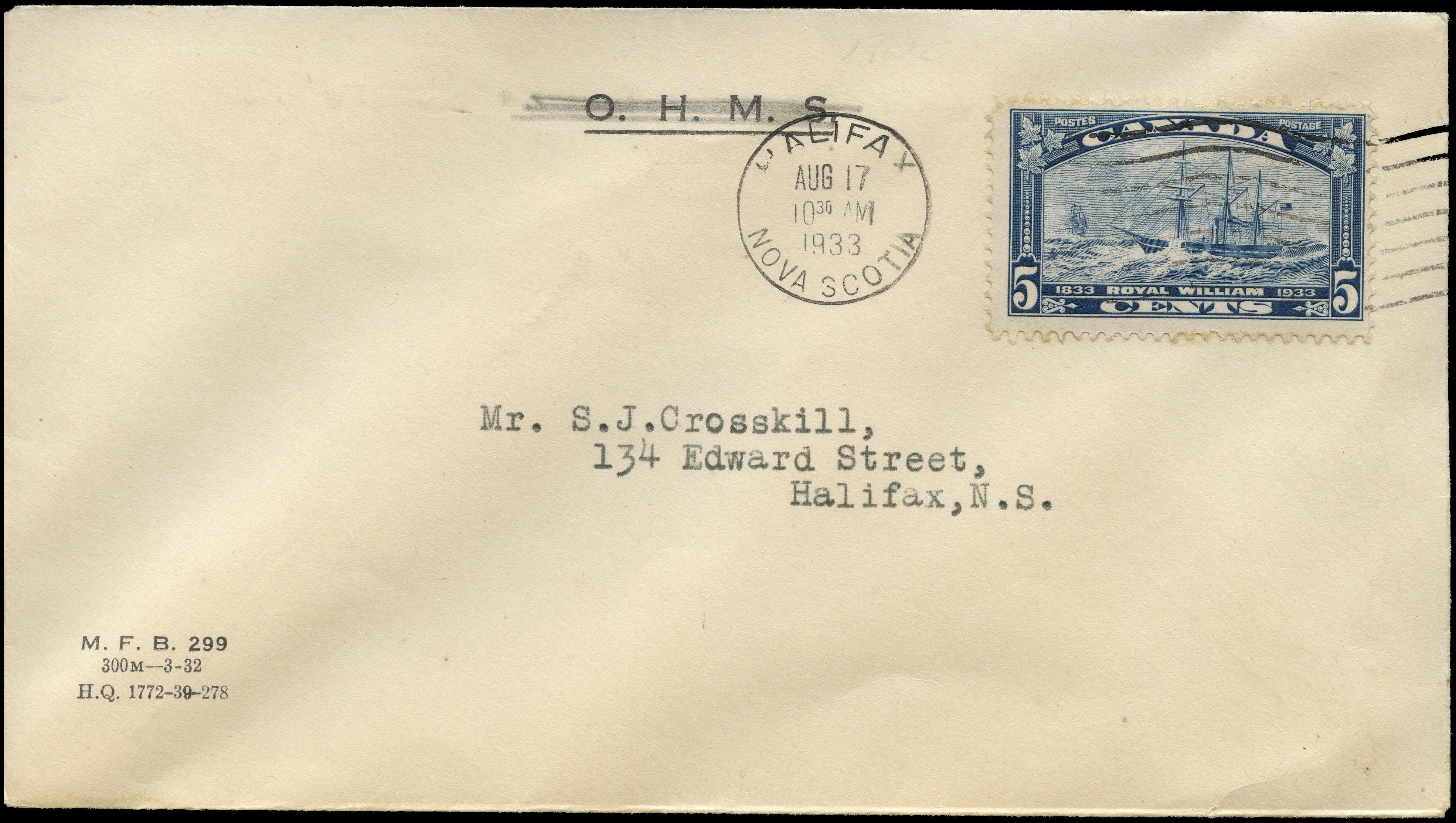 Canada - Scott #204 (1933) first day cover, postmarked Halifax, N.S. on OHMS envelope