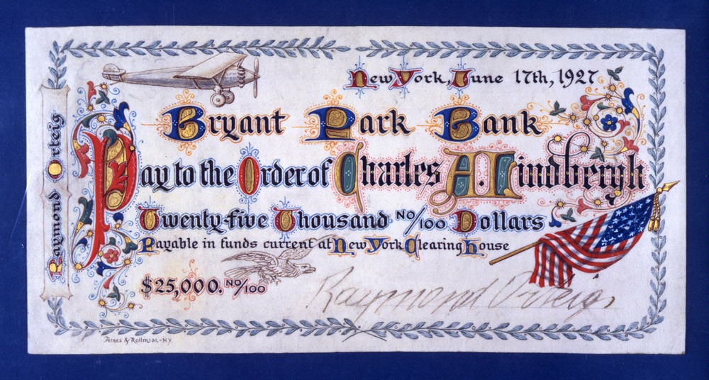 Check presented to Charles A. Lindbergh for winning the Orteig Prize, dated June 17, 1927 but presented on June 16.
