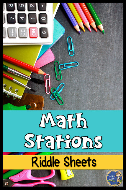 math riddle sheets, math stations, math centers