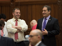 State Representatives Joe Polletta and John Fusco during the final night of the 2018 regular legislative session.