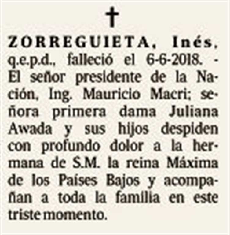 Macri publicó un aviso fúnebre por la muerte de Inés Zorreguieta