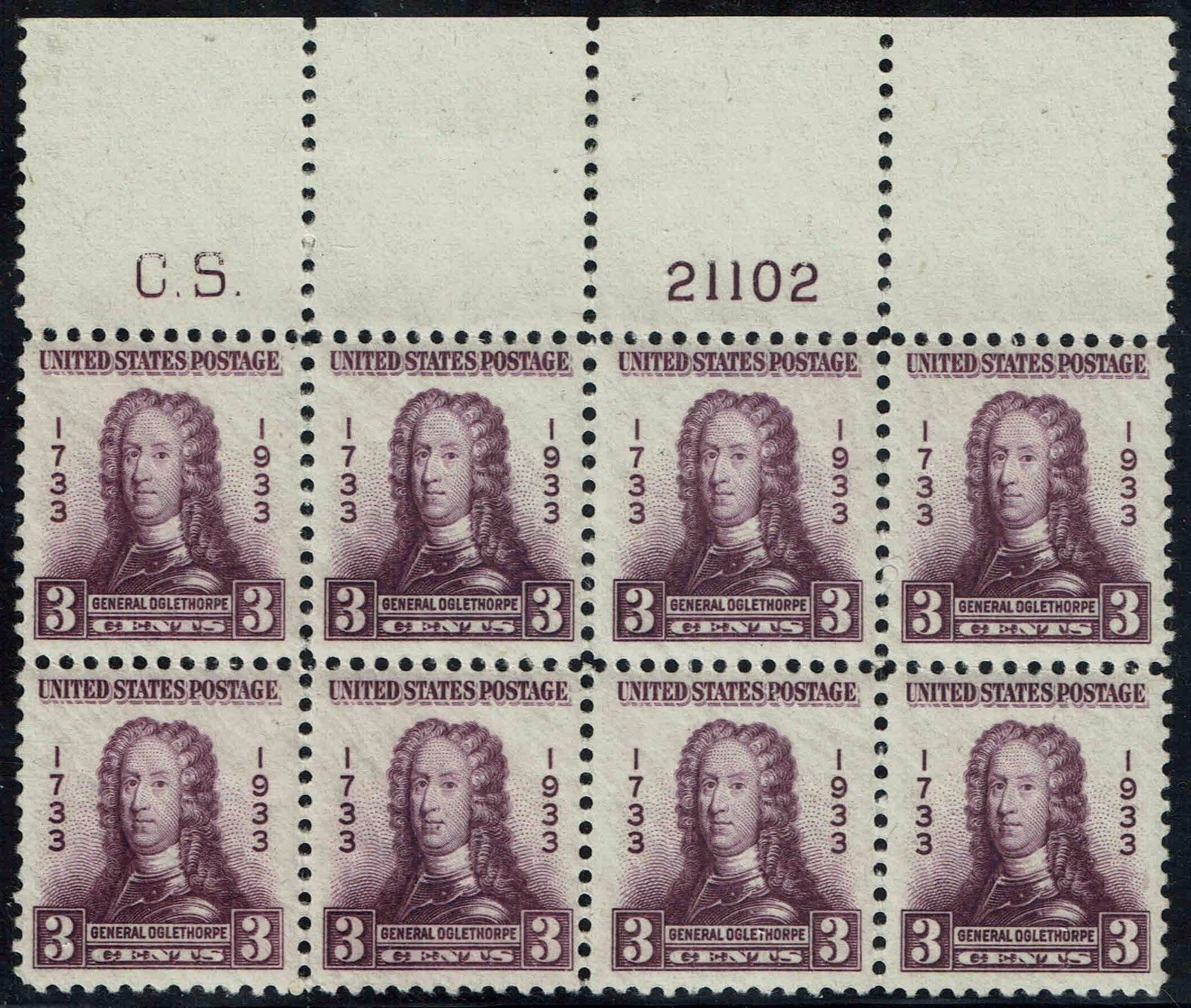 United States - Scott #726 (1933) - plate block of 6 from upper right pane, showing