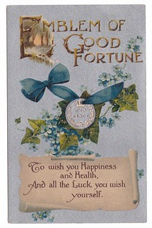 Holed sixpence Emblem of Good Fortune postcard