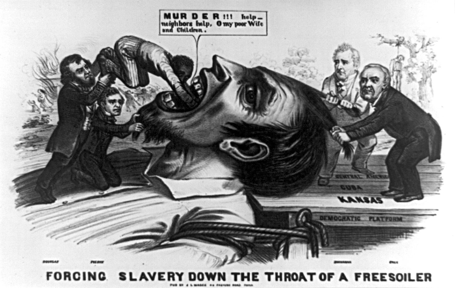 Forcing Slavery Down the Throat of a Freesoiler. An 1854 cartoon depicts a giant free soiler being held down by James Buchanan and Lewis Cass standing on the Democratic platform marked