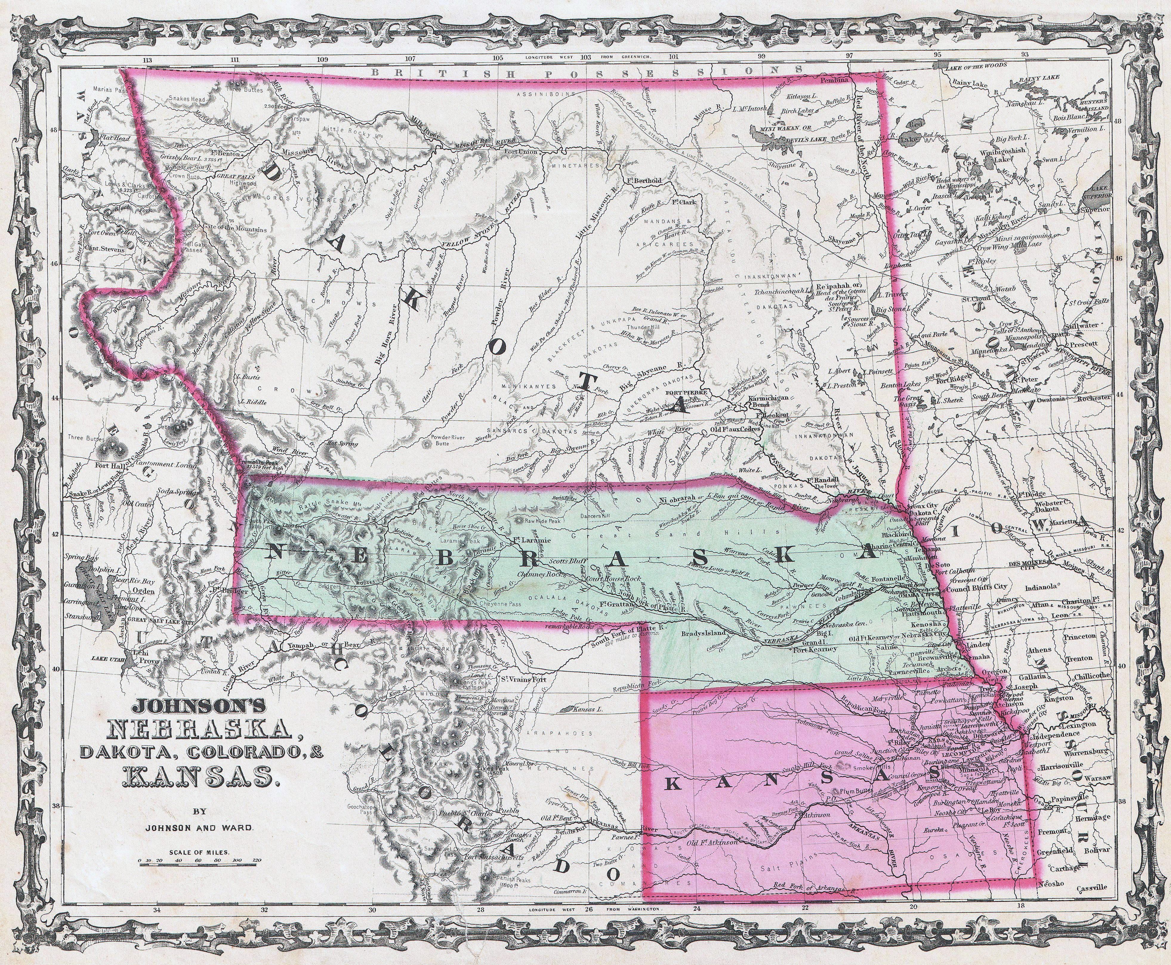 Relief map of the Dakota and Nebraska Territories and State of Kansas, 1862.