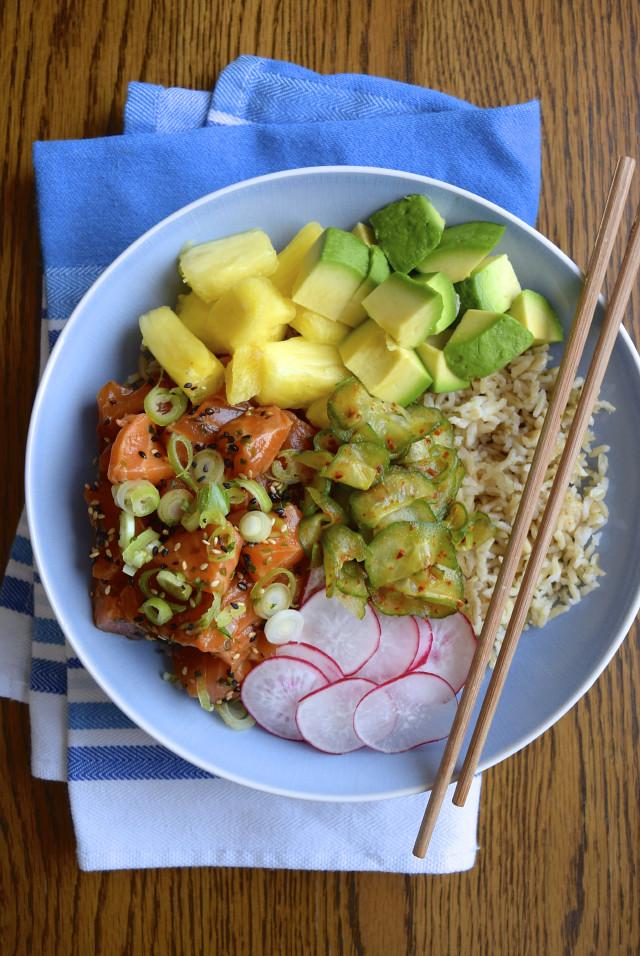 How To Make An Easy Salmon Poké Bowl #poke #salmon#rice #avocado