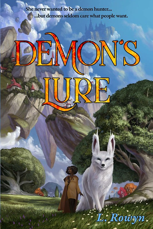 Demon's Lure Cover -- giant demon fox and young woman against backdrop of sky islands