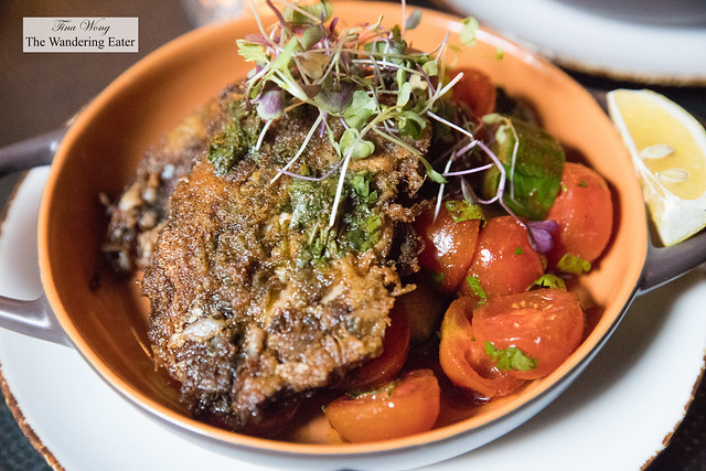 Fried sardines (from Portugal), chermoula, tomato and cucmber salad