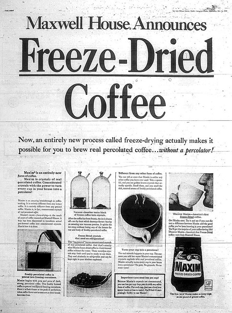 Maxwell House axim freeze dried coffee 1968