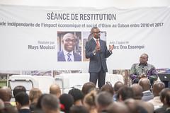 Séance de restitution de l'étude indépendante de l'impact économique et social d' Olam au gabon entre 2010 et 2017 par MAYS MOUISSI et MARC ONA ESSANGUI