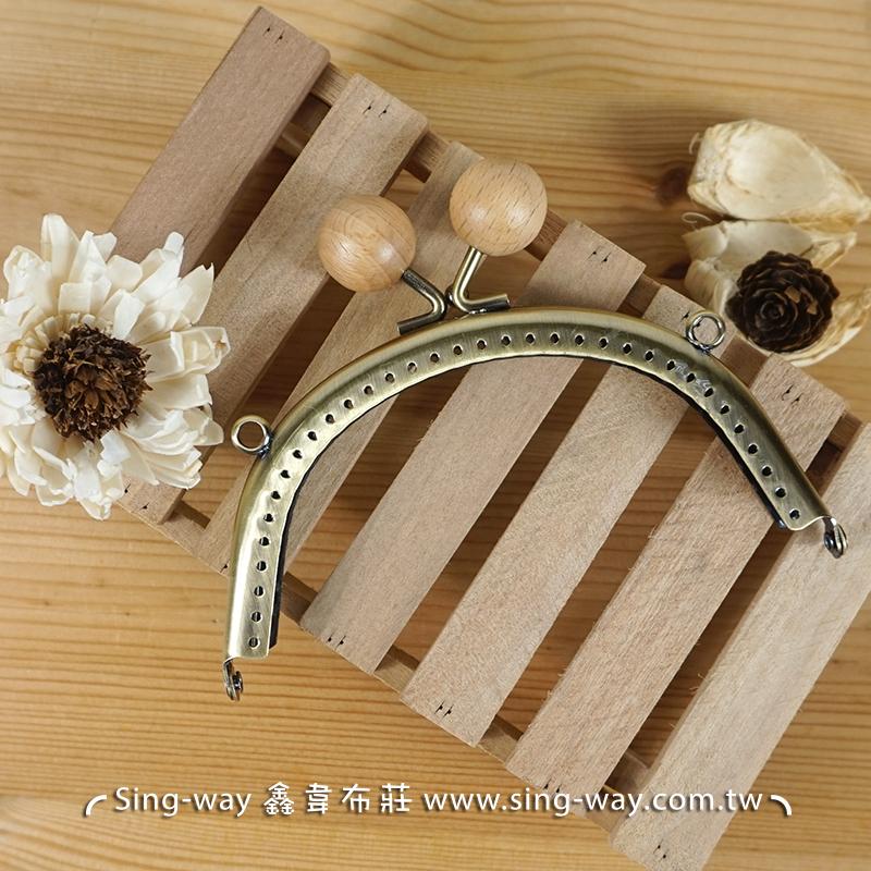 弧型素面木珠口金- 灰(12.5cm 附版) 木珠 珠子 珠珠 古銅面 手工藝材料配件 SA001709002-1