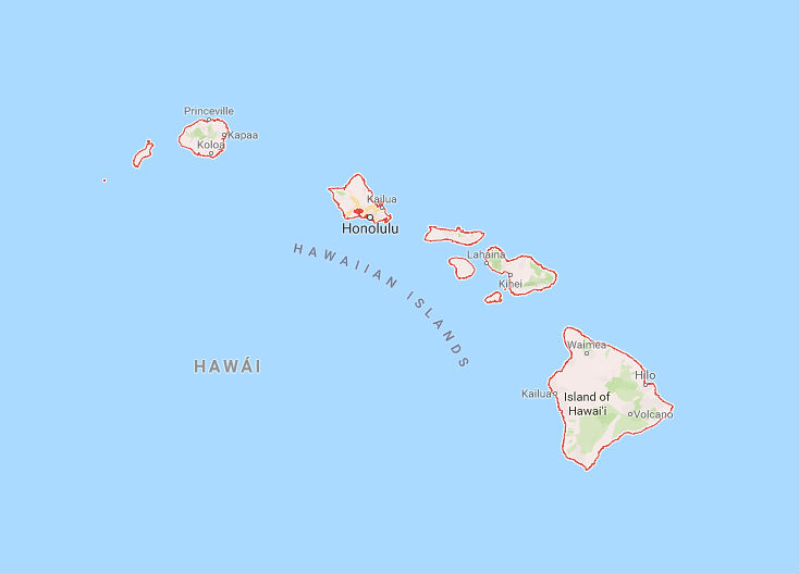 Mapa Islas Hawaii