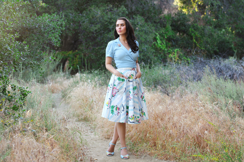 Seamstress of Bloomsbury Greta Blouse in Powder Blue Thelma Skirt in Seaside Print