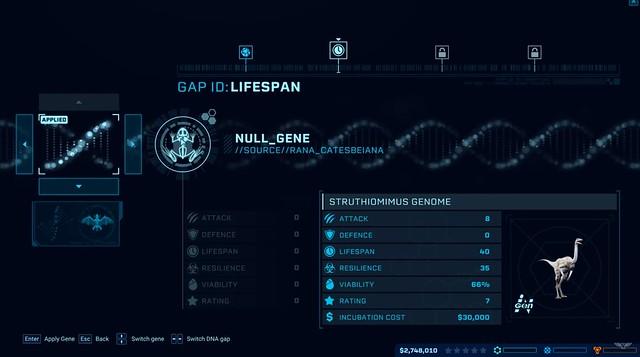 Jurassic World Evolution - proces genoma