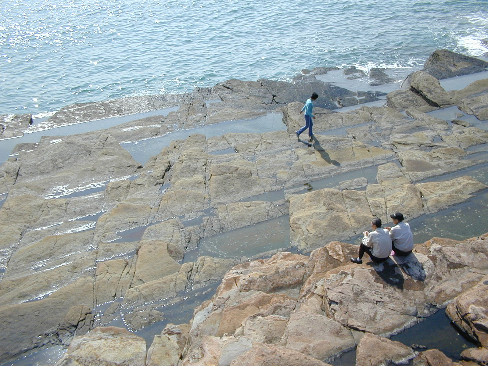 A wave-cut platform on Tung Ping Chau, Hong Kong SAR. The rocks are part of the Ping Chau Formation of Paleogene age. Photo taken on November 23, 2003.