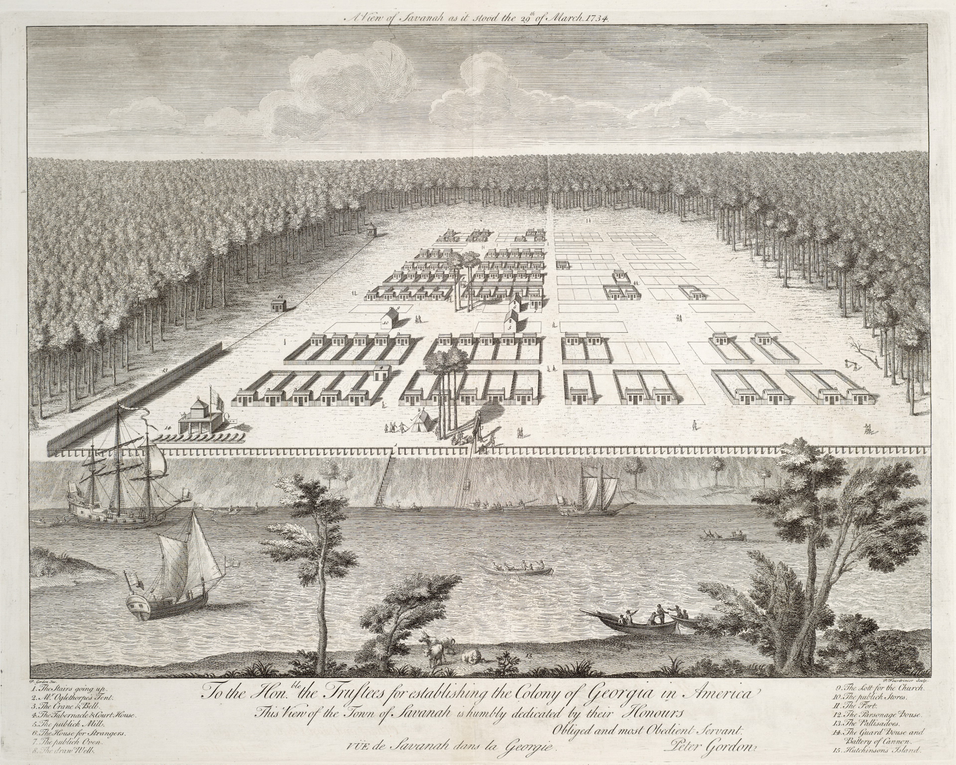 A view of Savanah as it stood the 29th of March 1734 by Pierre Fourdrinier and James Oglethorpe; currently at the Toronto Public Library.