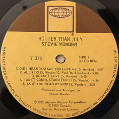 STEVIE WONDER:HOTTER THAN JULY(LABEL SIDE-A)