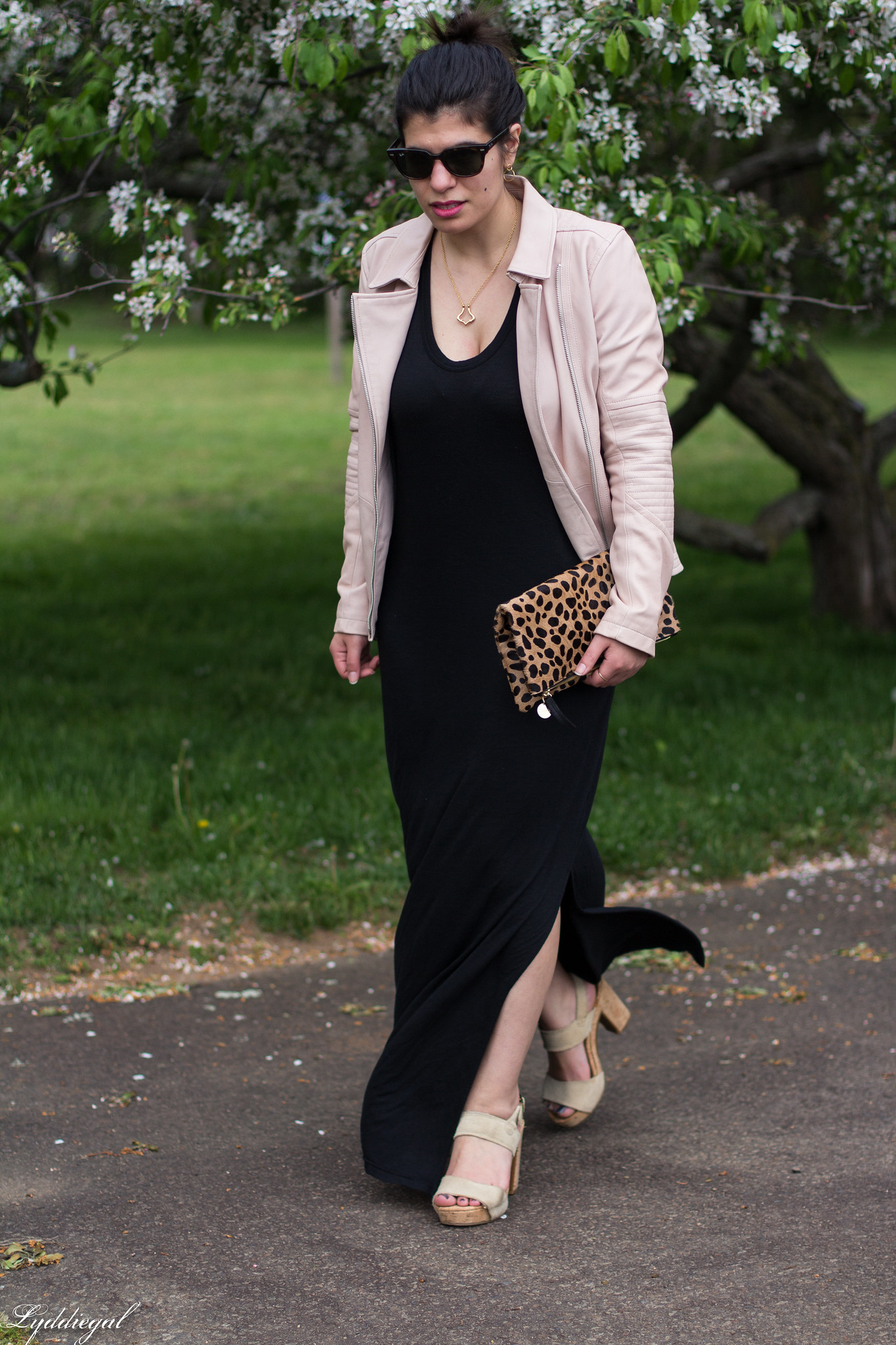 blush leather jacket, black maxi dress, leopard foldover clutch-9.jpg