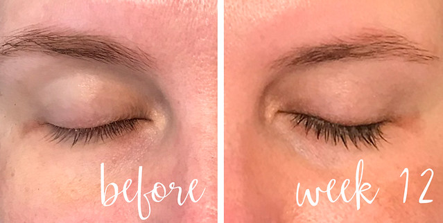 before and week 12 lashes no mascara