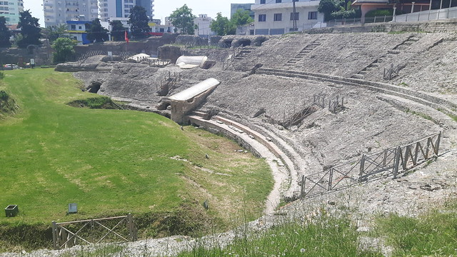 An old Roman Amphitheatre in Durres Albania.