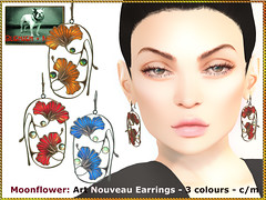 Bliensen - Moonflower - Art Nouveau Earrings