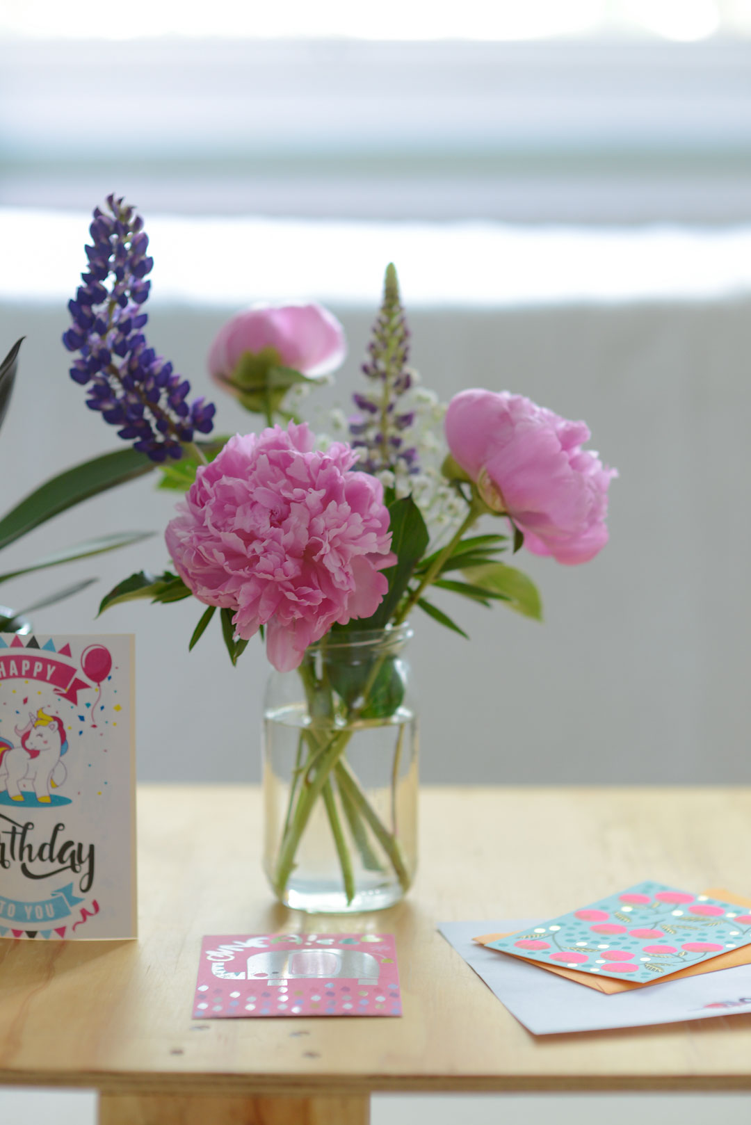 Beautiful peonies and lupines
