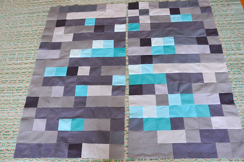11. Pin and sew two neighboring quadrants together, iron seams open.