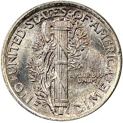 1916 Mercury Dime reverse