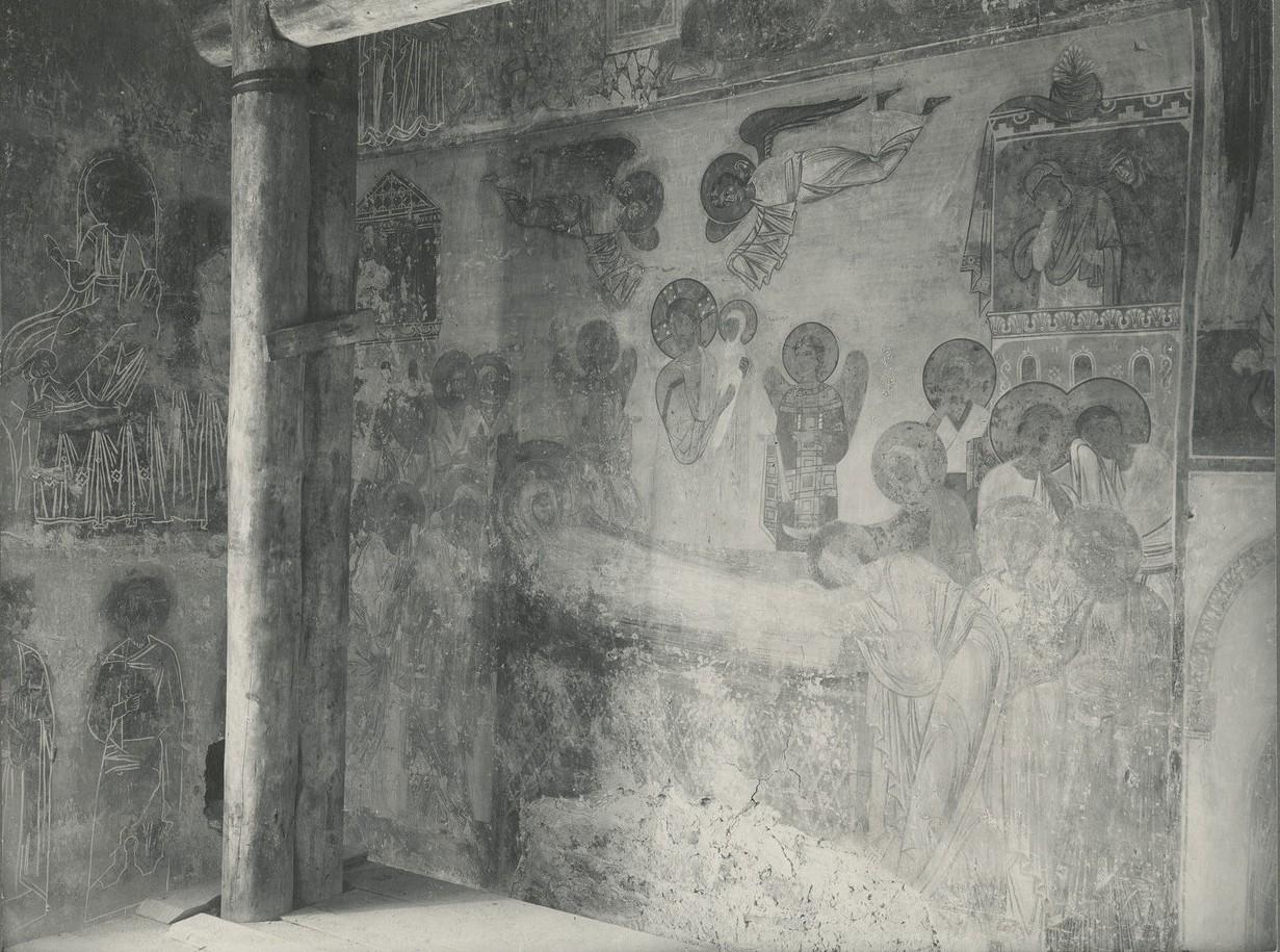 Фреска  «Успение Богородицы» до её прописи
