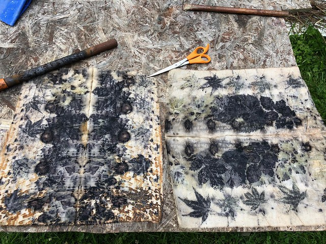 These eco prints were soaked in iron.