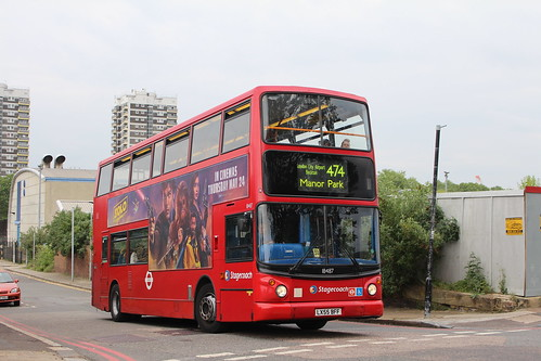Stagecoach London 18487 on Route 474, North Woolwich